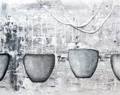"""reserved for andrea klein.  SALE.  large mixed media painting.  gray.  48""""x24"""".  tea & poetry."""