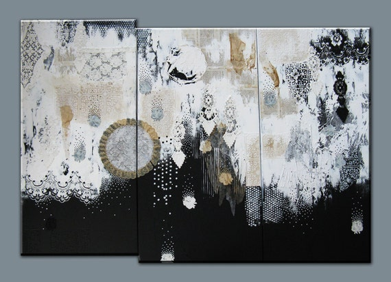 extra large abstract painting. triptych. textured mixed media original. the perfect storm.