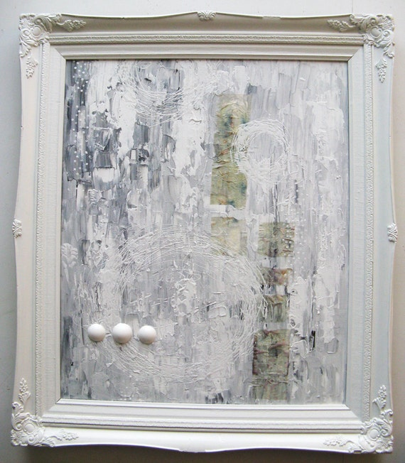 large original mixed media painting in upcycled frame. lay in a shimmer.  SALE