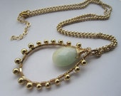 "2"" Granulated Jade Pendant with Beaded 14k Gold Filled Chain- CUSTOM ORDER JASMIN"