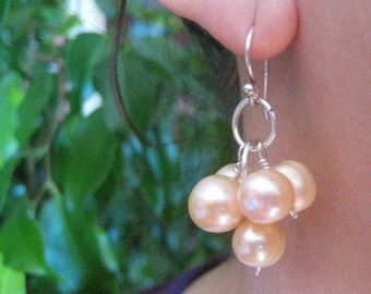 Cultured Fresh Water Pink Pearl Cluster Earrings with Sterling Silver Ear Wires