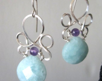 Amethyst and Aqua Blue Teardrop Bead with Wire Work Earrings-  handmade