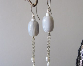 Agate and Fresh Water Pearl Dangle Earrings with Sterling Silver- Handmade