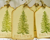 Christmas gift tag Tag-Vintage Looking Believe Gift Tags-Green and Cream