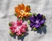 Handmade Paper Flowers Small Gardenias Spring Colors Set of 3 (three)
