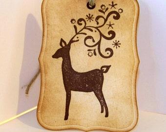 Christmas gift tag Tag-Vintage Looking Holiday Reindeer Gift Tags