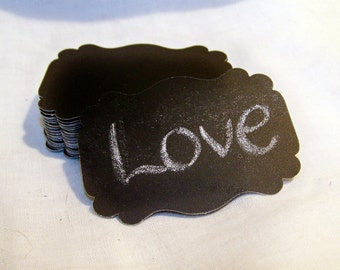 Set of 30 Die Cut Black Chalkboard Blank Tags for Wedding Wish, Escort Cards, Favors, DIY Wedding, Price tags