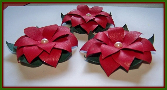 Handmade Paper Flower Gorgeous Red Poinsettia flower