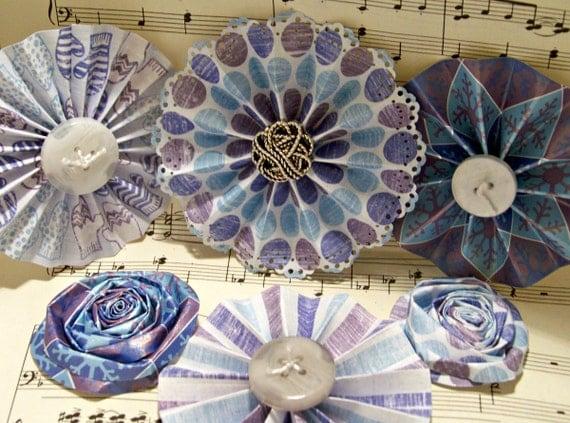 Handmade Paper Flowers for Christmas Medallion Flowers Winter Themed