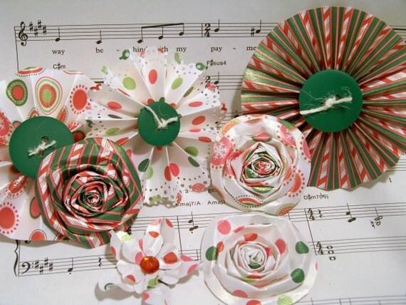 Handmade Paper Flowers for Christmas Medallion Flowers Candyland