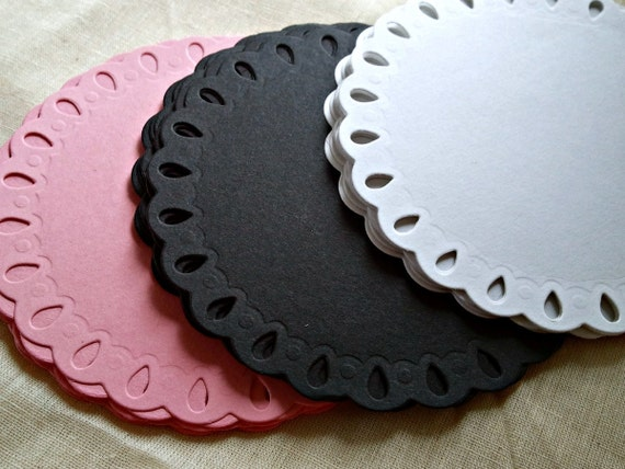 45 Lacey Tear Drop Doily Circle Die Cuts Perfect for cards, invitations, scrapbooking and more