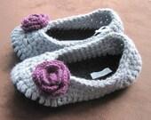 Purple Rose Lady's Crochet Slippers