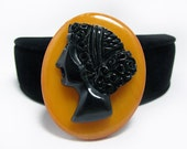 Bakelite Cameo Brooch - Stunning Black and Butterscotch with Heavy Carving