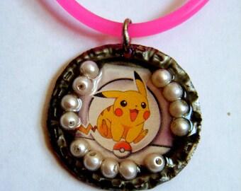Pikachu Bottlecap Pendant Necklace