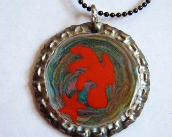 Red Star original painting Bottlecap Pendant Necklace