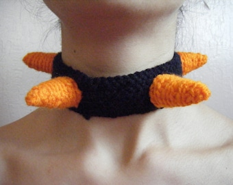 Soft Spiky Choker: Orange on Black
