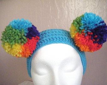 Rainbow Puff Ball Headband