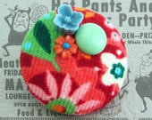 Fabric brooch badge with vintage beads