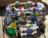 Paper Bead Memory Wire Bracelet- Paper Beads, Glass Beads, Silver, Seed Beads