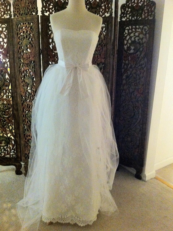 Items similar to chantilly lace wedding dress monique for Chantilly lace wedding dress