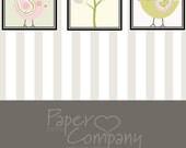PAISLEY TREE & BIRDS Personalized Custom 3 Piece Print - Baby Nursery/Wall Art Decor/Baby Shower Gift 8x10 - 3 Pc. Prints - Free Shipping