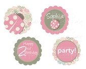 LADYBUG PAISLEY CHIC designs for cupcake toppers, stickers, labels - You Print, diy