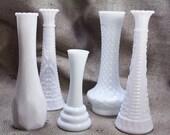 Set of 5 Vintage White Milk Glass Vases