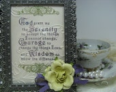 Hand Stamped Framed Serenity Prayer Gift Memento