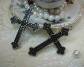 "2 Large 2 1/4"" crosses pendants drops charms Silver, Gold or Bronze"