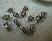Antique Silver Bails Pendant Bails Necklace Bails Jewelry Findings Small to Large Variety Pack Qty 12