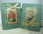 2 Green Handstamped Vintage Rose and Poppies Style Handmade Cards with Stick Pins