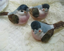 3 Blue Gray and Shell Pink Breasted Large Mushroom Birds