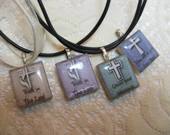 Christian Sayings Scrabble Tile Pendant on Leather Necklace