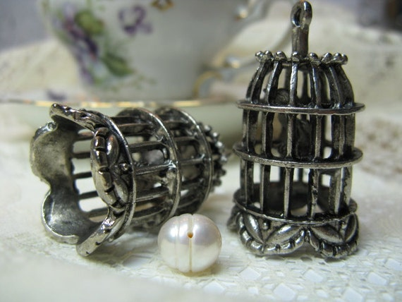 hold for natalierocks2011/10-Pretty Tibetan Silver Birdcage Pendant Drop Charm