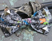 Funky Retro 70 s Punk Rocker Stud, Paint Splatted Print Fabric Hair Bow, Rave, Scene, Hipster By: Tranquilityy