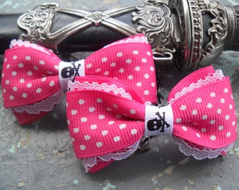 Pink Polka Dot Hair Bow, Sweet Emily Shocking Pink Sugar Hair Bow, Pink, Lolita, Victorian , Rave, Scene, Goth , Desire hair Play