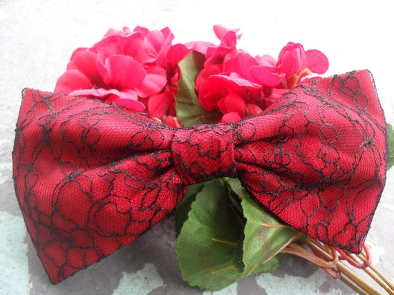 Luscious Lipstick Red Amazing Cotton and Lace WoW Hair Bow, Pin up Girl, Scene, Rave, Lolita, Victorian Desire Hair Play XOXO