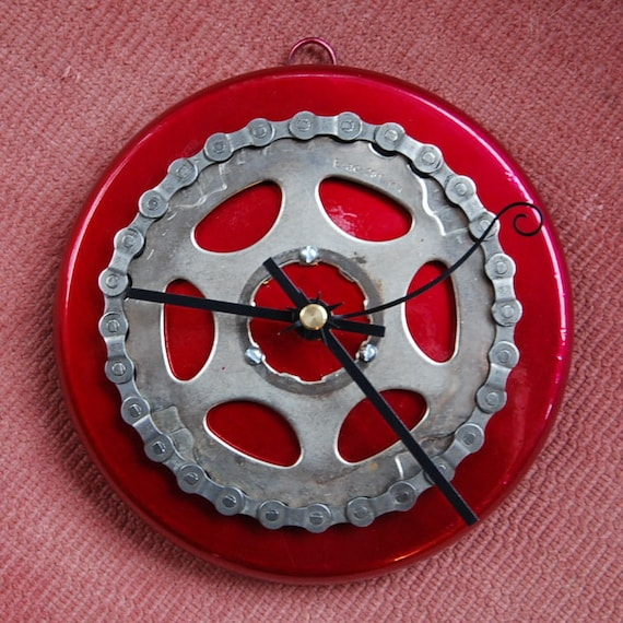 Candy Red Chain-Wrapped Sprocket Clock