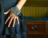 Black and White Cuff Bracelet Beadwoven with Black Leather and Turquoise - No. 41
