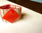 Picnic Time Red and White Stripe Cuff Bracelet Beadwoven with Vintage Button Gingham Silk Lined - 54