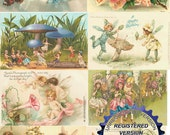DIGITAL DOWNLOAD Fairies Advertising Postcards Victorian Trade Cards 1 Resizeable Collage Sheet