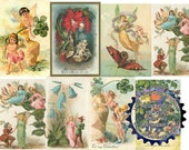 DIGITAL DOWNLOAD Vintage FAIRIES Postcards 4 Resizeable Collage Sheet