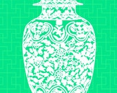 SALE Chinoiserie Ginger Jar on Green 11x14 Giclee
