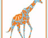 Orange and Turquoise Giraffe Giclee 11x14