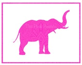 Neon Pink Paisley Indian Elephant Silhouette Facing Right Giclee