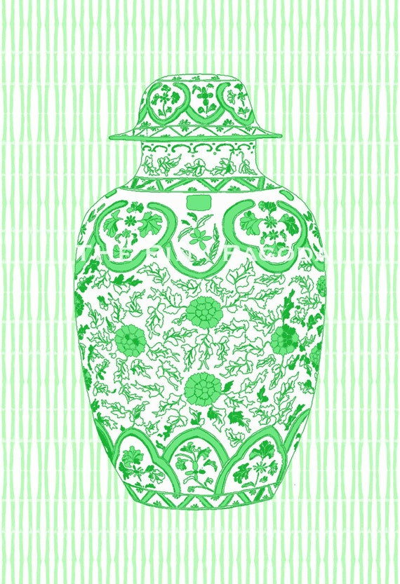 SALE Chinoiserie Ginger Jar in Green 13x19 Giclee