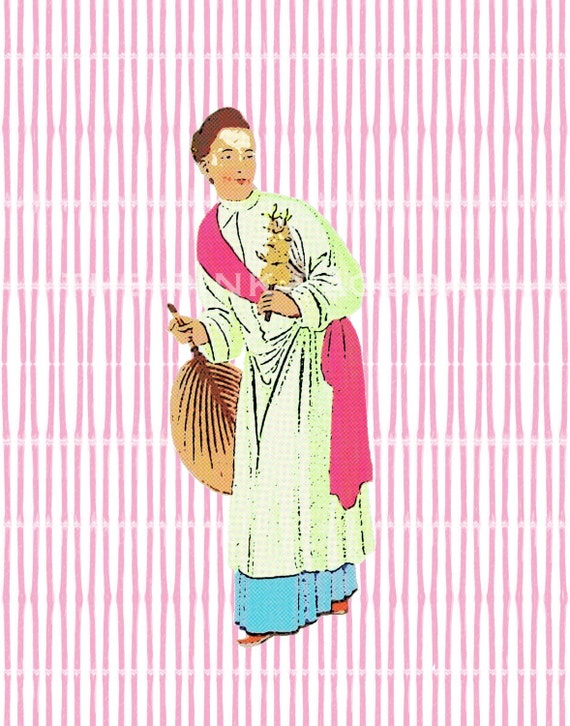 The Merchant's Wife on Pink Giclee