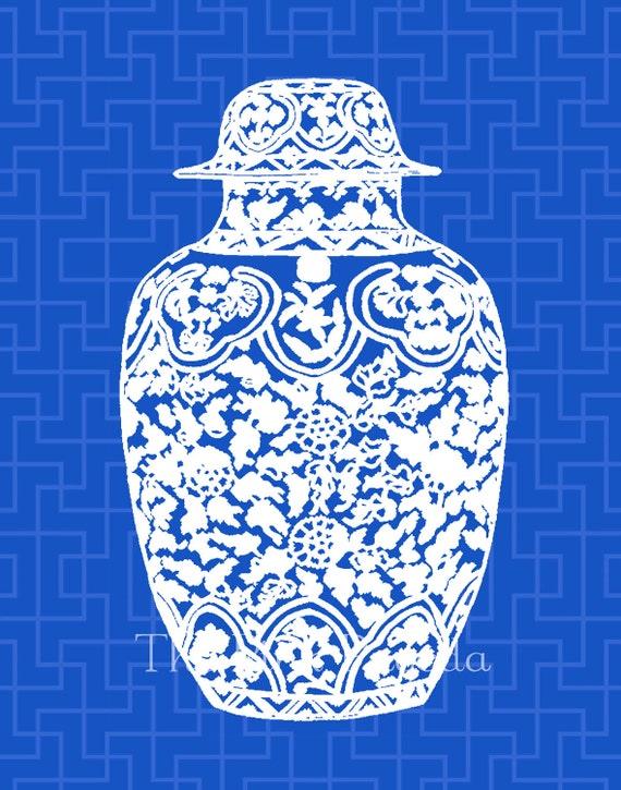 SALE White Ming Chinoiserie Ginger Jar on Indigo Navy Blue Lattice 11x14 Giclee