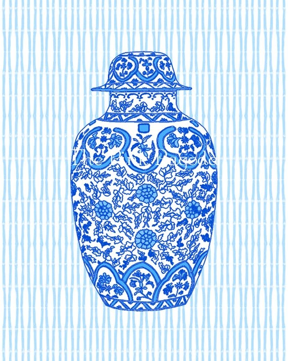 Ming Blue Chinoiserie Ginger Jar Giclee