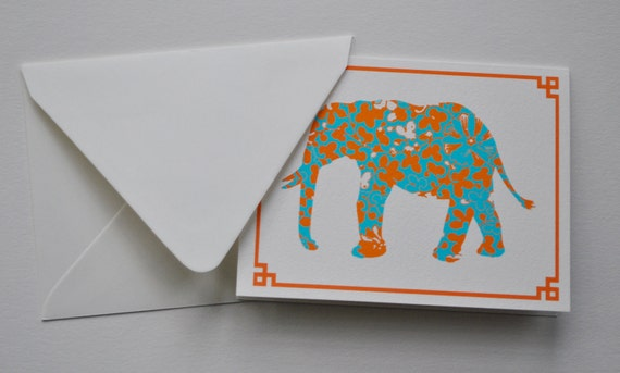 Orange and Turquoise Chinoiserie Elephants Notecards and Envelopes
